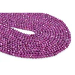 Kyпить 4MM Genuine Natural Ruby Beads Grade AAA Faceted Round Gemstone Loose Beads 7.5