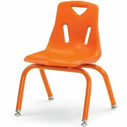 Berries Stacking Chairs with Powder-Coated Legs Orange 12'' Seat Height