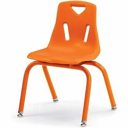 Berries Stacking Chairs with Powder-Coated Legs Orange 14'' Seat Height