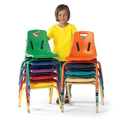 Berries 8122JC1112 Stacking Chair With Powder-coated Legs 12'' Height Navy