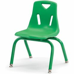 Berries Stacking Chairs with Powder-Coated Legs Green 12'' Seat Height