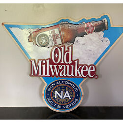 Kyпить VINTAGE Old Milwaukee non alcoholic Beer Advertising Bar metal SIGN 1992 Strohs на еВаy.соm
