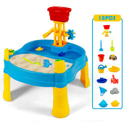 Costway Kids Sand and Water Table Activity Table Sandbox with 18 PCS Accessories