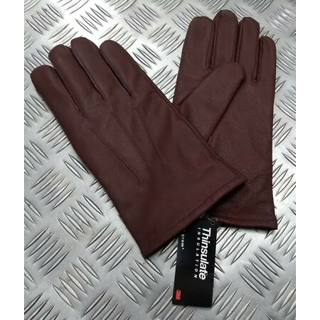 img-Military Spec Officers Brown Leather Soft Thinsulate Lined 3 Dart Gloves L11