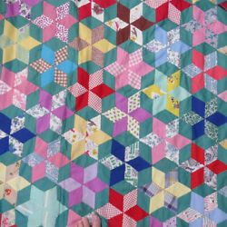Vtg 40s-50s Patchwork Quilt Top Cubes Rhombus Hand Sewn Teal 63x85