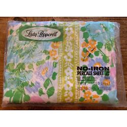 Vintage Retro Lady Pepperell Floral Twin Fitted Sheet - In Package