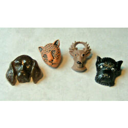 1940'S VINTAGE PLASTIC REALISTIC GOOFY ANIMAL HEAD BUTTONS -2 DOGS STAG LEOPARD