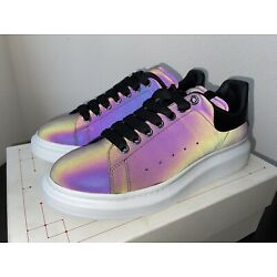 NEW Auth ALEXANDER MCQUEEN Oversize Leather Sneakers White 42/9 Iridescent