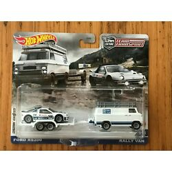 Hot Wheels Premium Car Culture Team Transport Ford RS200 + Rally Van Sealed New