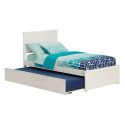 Atlantic Madison White Twin-size Bed With Flat-panel Footboard and Urban Trundle
