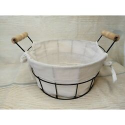 New! Wire Bread Egg Basket Fabric Lining Wooden Handles Farmhouse Storage