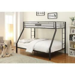 Oberon II Contemporary Black Sand Finish Metal XL Twin Over Queen Bunk Bed