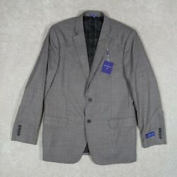 The Savile Row & Co. Men's 44L Sports Coat Beige Houndstooth Wool Blend