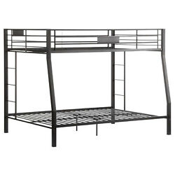 Acme Furniture Limbra Collection 38005 Full Over Queen Bunk Bed in Black Sand Fi