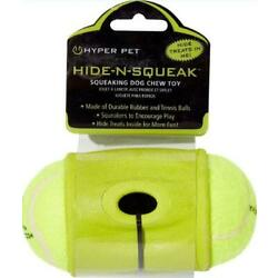 NEW HYPER PET HIDE N SQUEAK RUBBER DOG TOY 6'' LONG WITH TENNIS BALLS TREATS PLAY
