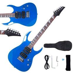 New Burning Fire Blue Basswood 22 Frets Practice Electric Guitar for Beginner
