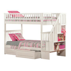 Atlantic Furniture Woodland Staircase Bunk Bed with 2 Raised Panel Bed Drawers