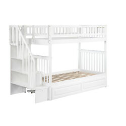 Atlantic Furniture Woodland Staircase Bunk Bed with Twin Size Raised Panel Trund