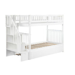Atlantic Furniture Woodland Staircase Bunk Bed with Twin Size Urban Trundle Bed