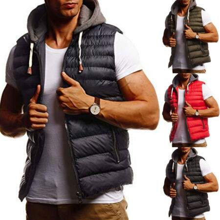 img-Men Quilted Padded Jacket Hooded Waistcoat Gilet Winter Warm Puffer Vest Outwear