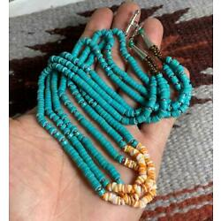 Multi-strands Block turquoise heishi/spiny oyster shell necklace(y241n1-w2)