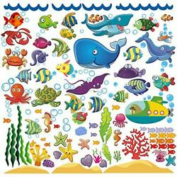 Ocean Fish Wall Stickers for Toddlers and Kids, Decorative Underwater Decals
