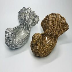 Pair of Beautiful Rustic Silver & Gold Doves Wicker Basket Planter Holidays (II)