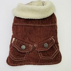 Old Navy Dog Jacket Brown Corduroy Fleece Lined Size XS 10'' with Collar