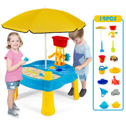 Costway Kids Sand and Water Table Activity Table Sandbox Accessory w/ Umbrella