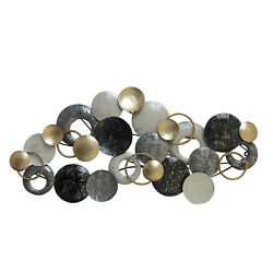 Benzara Metal Disc Wall Decor with Splotched Details, Gray and Gold
