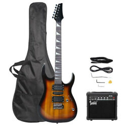 New Burning Fire Sunset 22 Frets Practice Electric Guitar for Beginner 20W