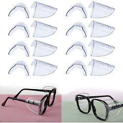 Hub s Gadget 8 Pairs Safety Eye Glasses Side Shields, Slip On Clear Side Shield