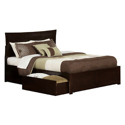 Metro Queen Bed With Flat Panel Footboard and Urban Bed Drawers in an Espresso F