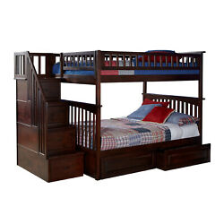 Atlantic Furniture Columbia Staircase Bunk Bed Full Over Full W/ 2 Raised Panel