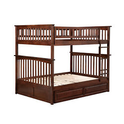 Atlantic Furniture Columbia Bunk Bed with Twin Size Raised Panel Trundle Bed