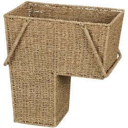 Household Essentials ML-5647 Seagrass Wicker Stair Step Basket with Handle   Nat