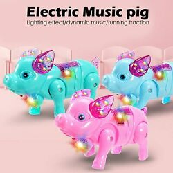 Walking Singing Pig Toy with Colorful Flashing Light Battery Operated Piggy
