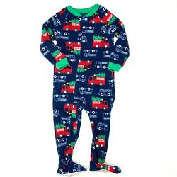 Child of Mine Carter's Fire Truck Christmas Footed Pajamas 3T Boys Blue Fleece