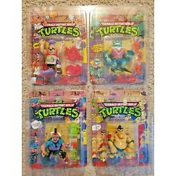 TMNT LOT OF 4 MOCs With Toyshield Cases Unpunched Scumbug Tattoo Pizzaface Ray