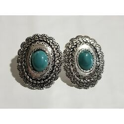 Southwestern Oval Cabochon Simulated Turquoise Silver Toned Pierced Earrings