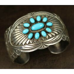 SLEEPING BEAUTY TURQUOISE Navajo Sterling Silver WIDE Cuff Bracelet SIGNED