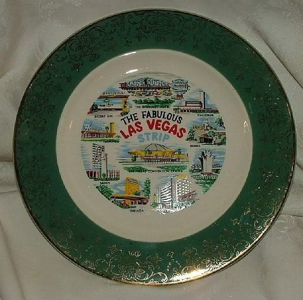 Hotel Collection Plates: The Fabulous Las Vegas Strip Souvenir Plate OLD HOTELS