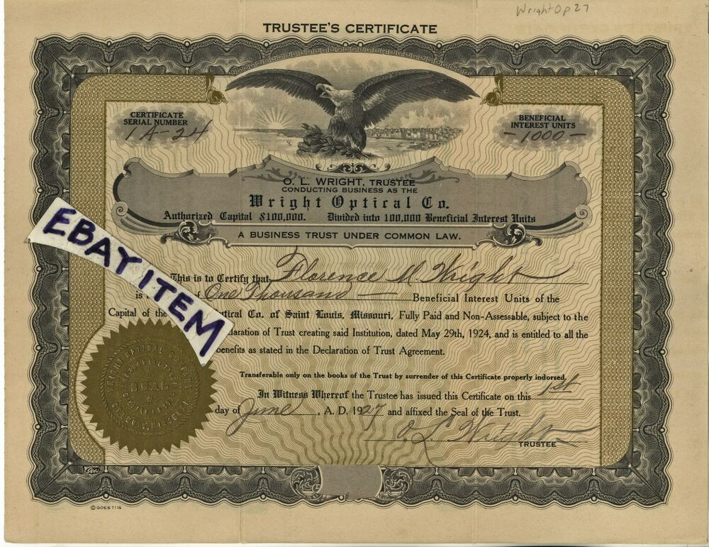 1927 Stock Certificate O L Florence Wright Optical Company St