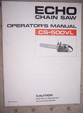 Yard Machine Parts >> Echo CS-500VL Power Chain Saw Manual Tool Machine F | eBay