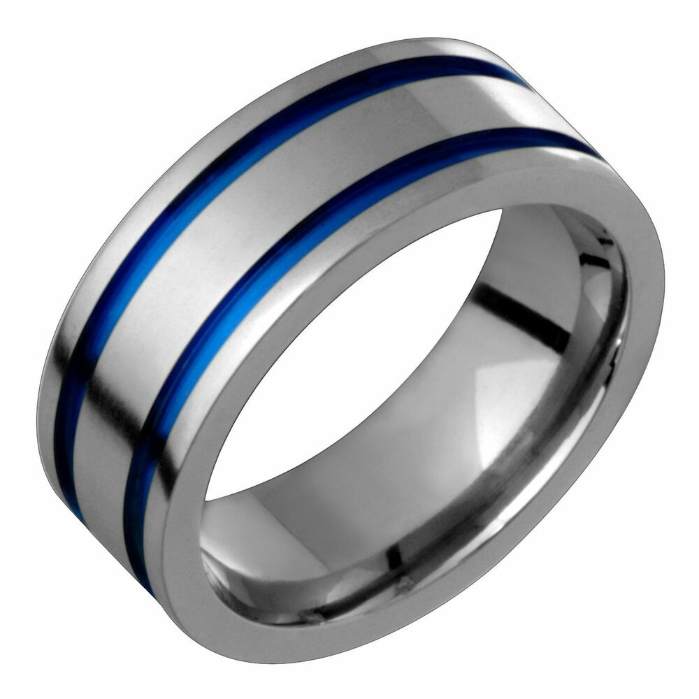 wedding band rings titanium band with blue anodization 7mm wide engagement 8422