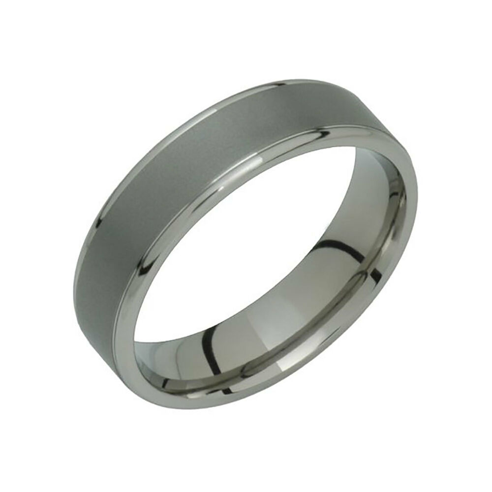 wedding band rings trendy titanium ring comfort fit 6mm wide polished edges 8422
