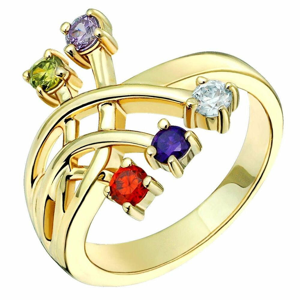 10k Yellow Gold Ring Multi-Colored Gemstones 3mm Wide