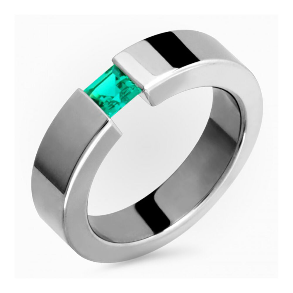 Womens Titanium Emerald Ring Comfort Fit 5mm Wide Polished Engagement Band