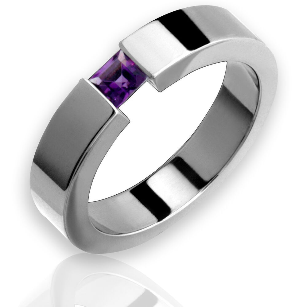 wedding band rings titanium ring w tension set amethyst birthstone high 8422