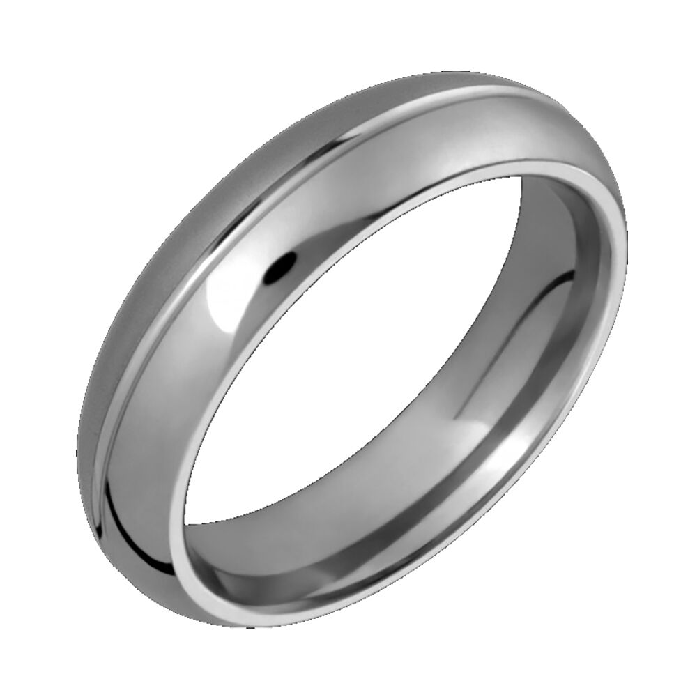 wedding rings and bands titanium wedding ring w center groove 6mm wide half 1012